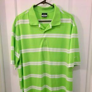 Neon Lime Green & White Striped Nike Golf Polo